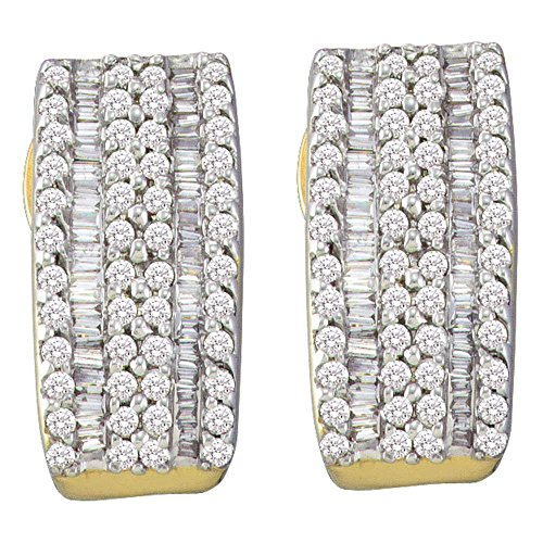 Roy Rose Jewelry 14K Yellow Gold Ladies Baguette Diamond Vertical Stripe Hoop Earrings 7/8 Carat - Baguette 14k Hoop Gold Diamond