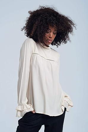 Q2 Blusa fluida Beige Camisa, L Mujeres: Amazon.es: Ropa y accesorios