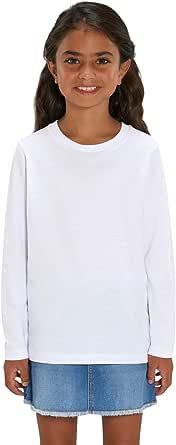 Hilltop Camiseta para Niños de Manga Larga / 100% Algodón Orgánico para Niños y Niñas. Ideal para Estampación (ej.: con Papel Transfer, Estampado Metálico Foil)