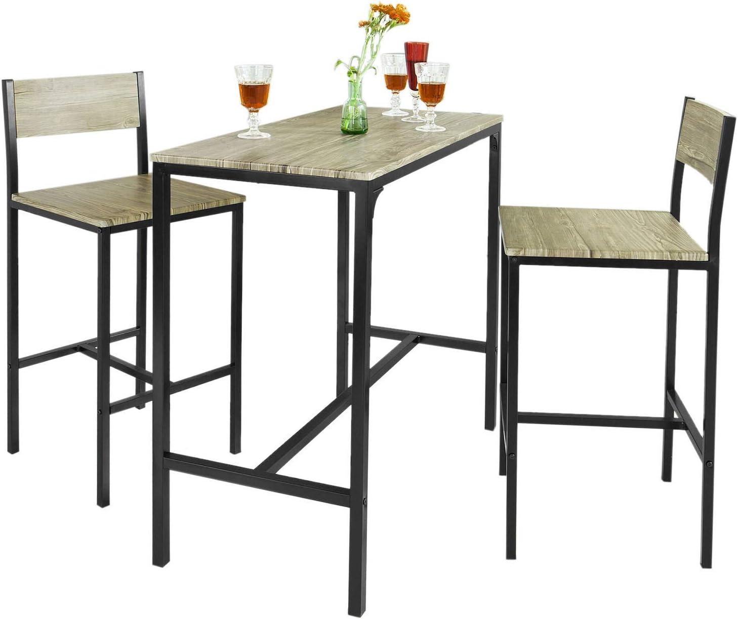 Sobuy Ogt03 Bar Set 1 Bar Table And 2 Stools Home Kitchen Restaurant Bar Set Furniture Dining Set Amazon Ca Home Kitchen