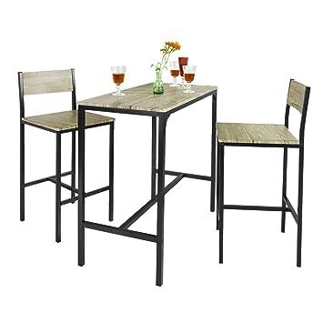 Sobuy Ogt03 Bar Set 1 Bar Table And 2 Stools Home Kitchen