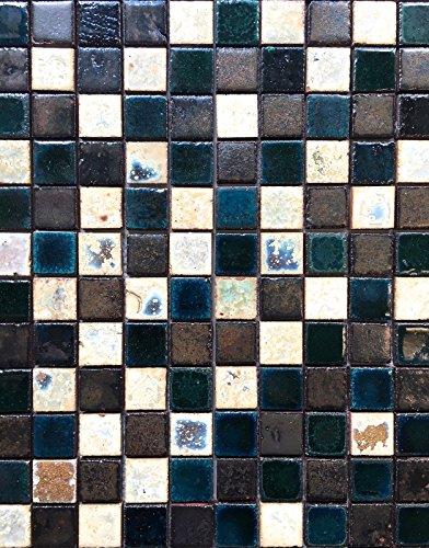 (Antique Vaglio Hand Glazed Mix Bourges Green 1x1 Ceramic Mosaic Tile Backsplash)