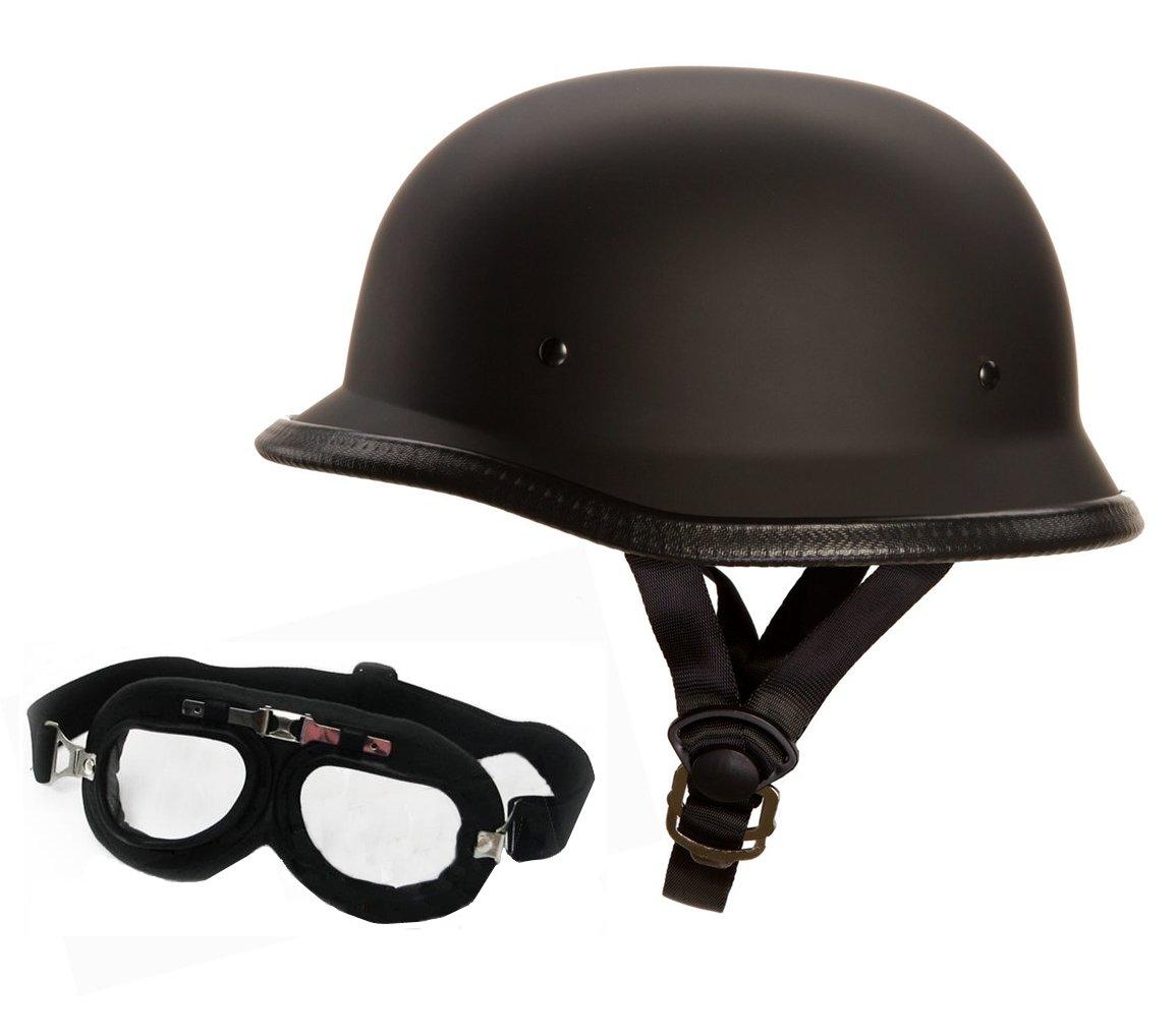 Oldschool Helm mit Fliegerbrille - Motorradhelm - Wehrmachtshelm - Halbhelm - Halbschalenhelm (Gr. M, mit Brille) Kochmann RB-200-885605