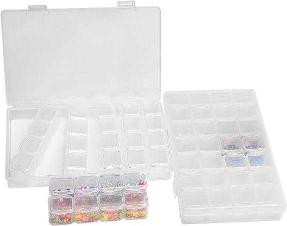 Caja Organizador de plástico transparente con separadores desmontables Caso para almacenamiento pequeños objetos (2 x 28 pequeñas Rejillas): Amazon.es: Hogar