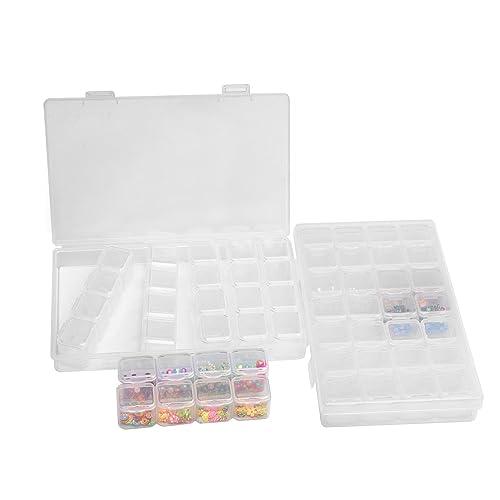 Joyería Organizador 2 Paquetes 28 Compartimentos Ajustable Caja de Almacenamiento de Plástico para Abalorios y Pequeñas Cosas: Amazon.es: Joyería