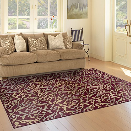 Superior Corbin Collection Area Rug, 8mm Pile Height with Jute Backing, Vintage Distressed Geometric Pattern, Fashionable and Affordable Woven Rugs, 5' x 8' Rug, Red