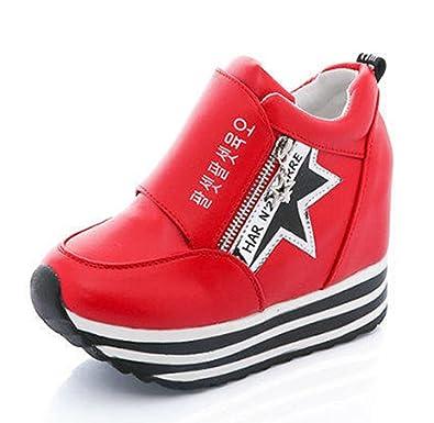 Easemax Damen Sportlich Dick Sohle Durchgängiges Plateau Zipper Sneakers Rot 36 EU MtNHiZfx