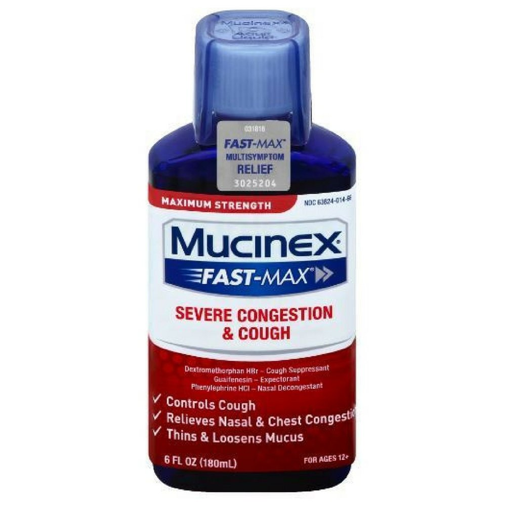 Mucinex Fast-Max Adult Severe Congestion and Cough Liquid, 6 Ounce (Pack of 9)