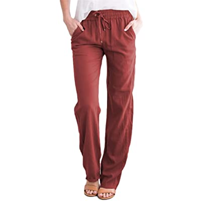 Andongnywell Women's Casual Linen Long Pants Elastic Waist Trousers Cotton Wide Drawstring Pants with Pockets: Clothing