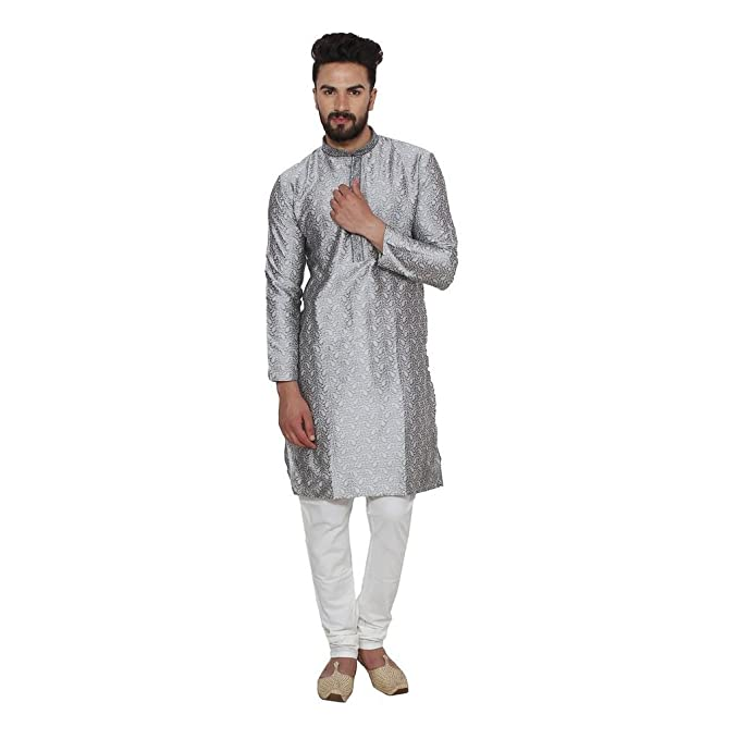 Plata Jacqaurd seda bordado tradicional Kurta y pijama Set para hombres por Royal Kurta Plateado plata