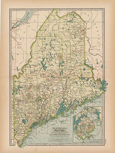 Historic Pictoric Map | Maine 1897 | The Century Atlas World | Vintage Poster Art Reproduction | 24in x 18in