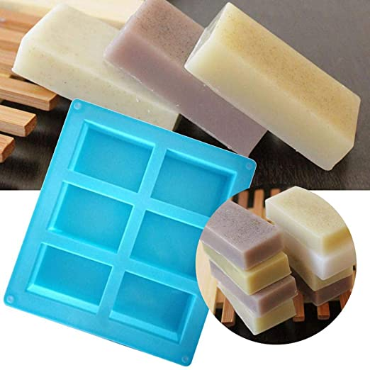QUICKLYLy Molde de jabón rectangular de 6 cavidades Silicona Craft ...