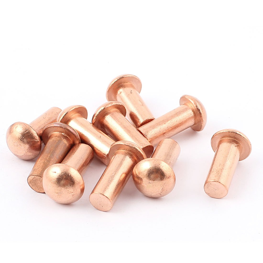 "50 Pcs 3//16/"" Diameter 1/"" L Shank Round Head Copper Solid Rivets Fasteners"