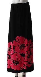 b81647e0b4 Susan Graver Liquid Knit Placement Print Maxi Skirt Black Red XS New ...
