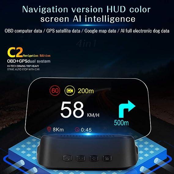 Spannung Motordrehzahl Gecheer Head up Display Auto OBD Auto HUD Anzeigegeschwindigkeit Wassertemperatur Sicherheitsalarm f/ür Computer f/ür alle Fahrzeuge