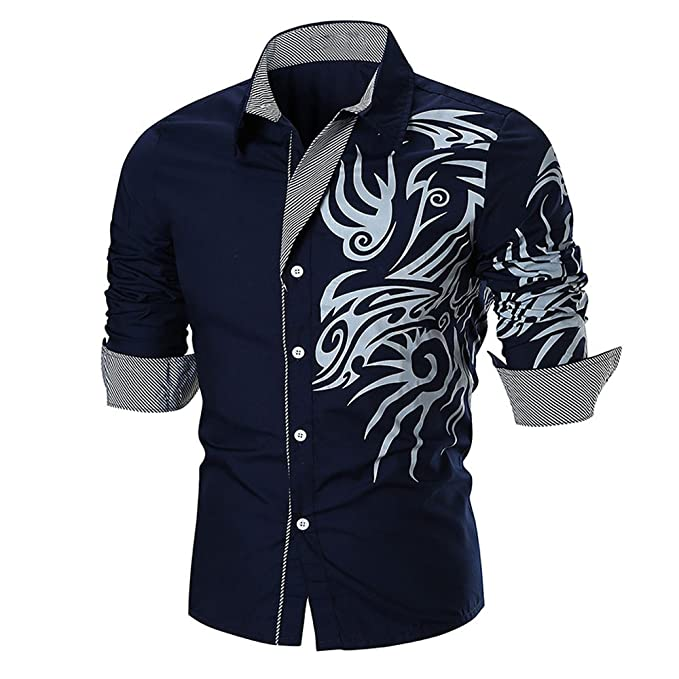 Men/'s Mandarin Collar Shirt Long Sleeve V-Neck Casual Formal Holiday Coton Slim
