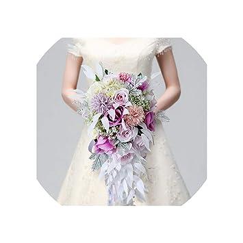 Amazon Com Fenyoung Waterfall Macaron Wedding Bouquet Flowers