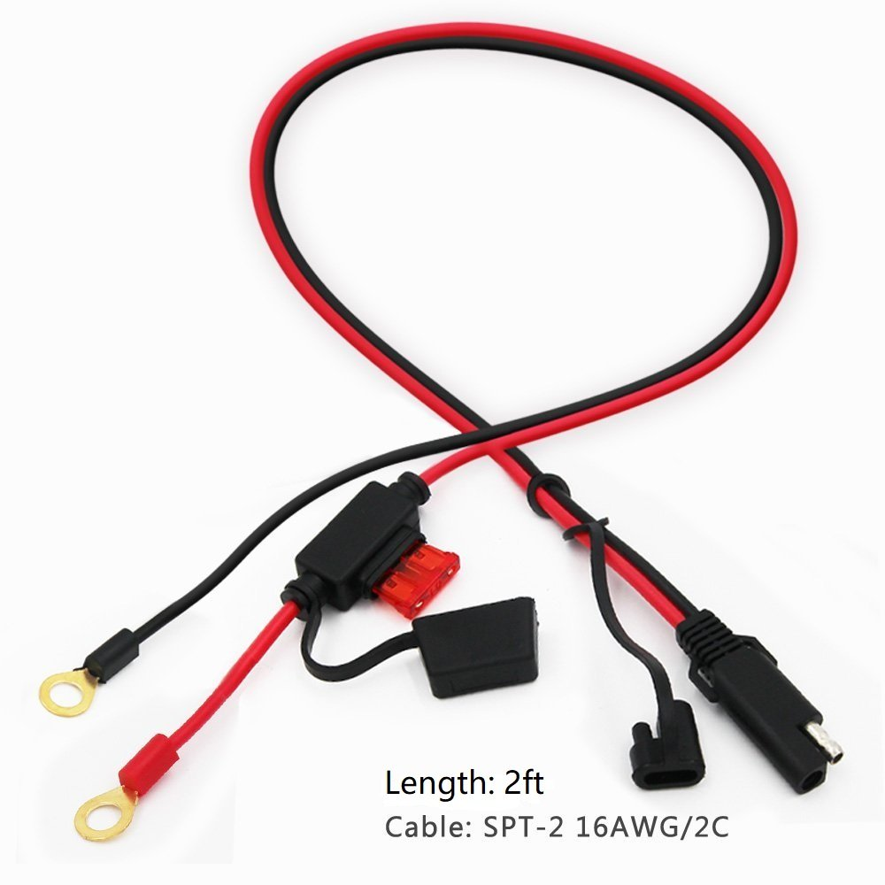 Quick Disconnect SAE Connection Lead For Motorcycle KUNCAN 2FT SAE to O Ring Terminal Harness Wire 2 Pin Lug Cable Tractor 10A Fuse Car Eyelet Terminal Harness Extension Charge Cord