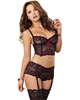 Dreamgirl 9708 Women's Floral Print Lace Bustier And Heart Garter Shorts