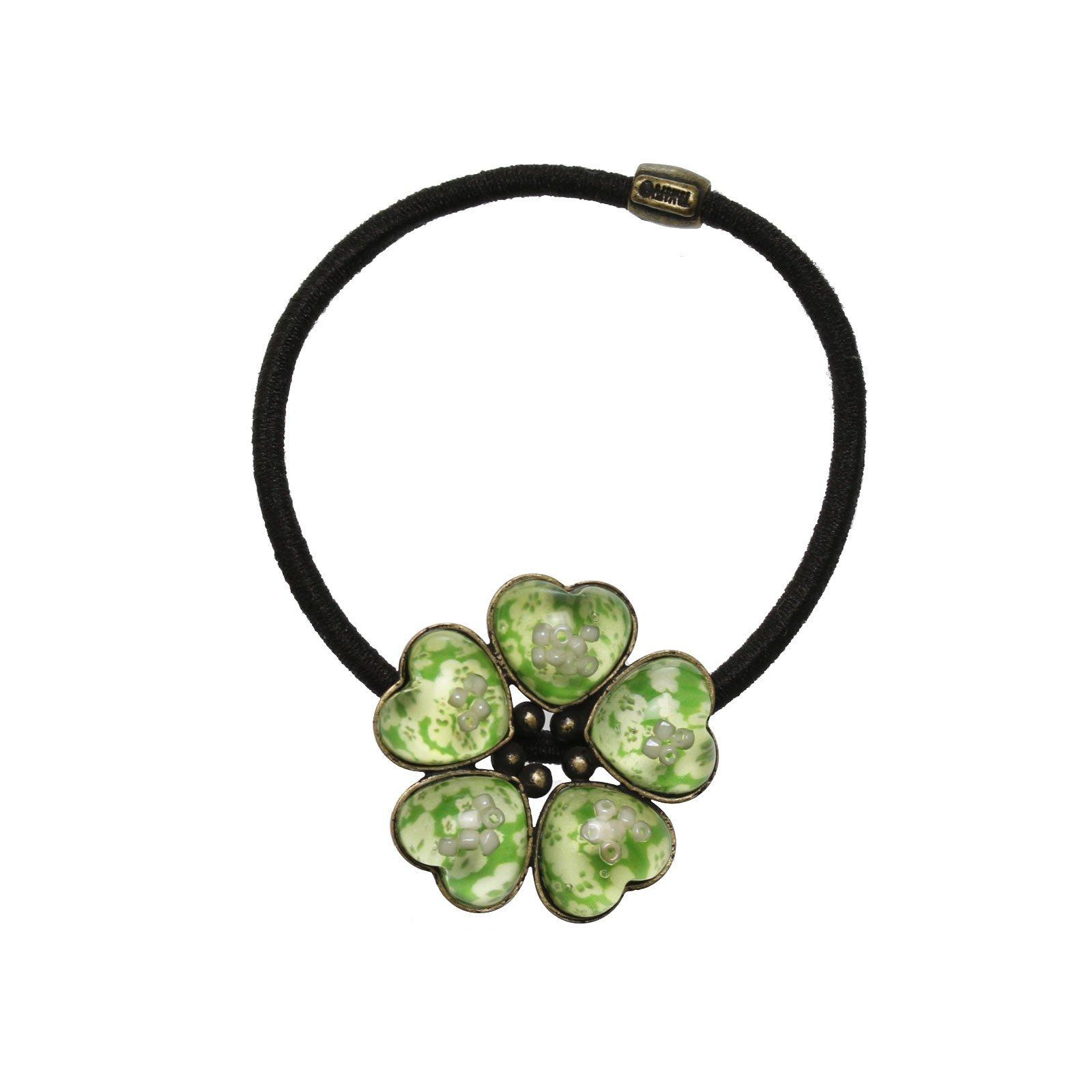 Tamarusan Green Plum Flower Pattern Ponytail Holder Hand Made