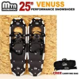 New MTN Extreme Lightweight All Terrian Man Woman Kid Teen Snowshoes up to 255 lbs /Free Bag - WHITE (25'' inch)