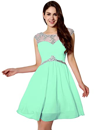 deaf7a6a900 anmor Juniors Short Beaded Bodice Prom Dress Chiffon Homecoming Dress Mint  US2