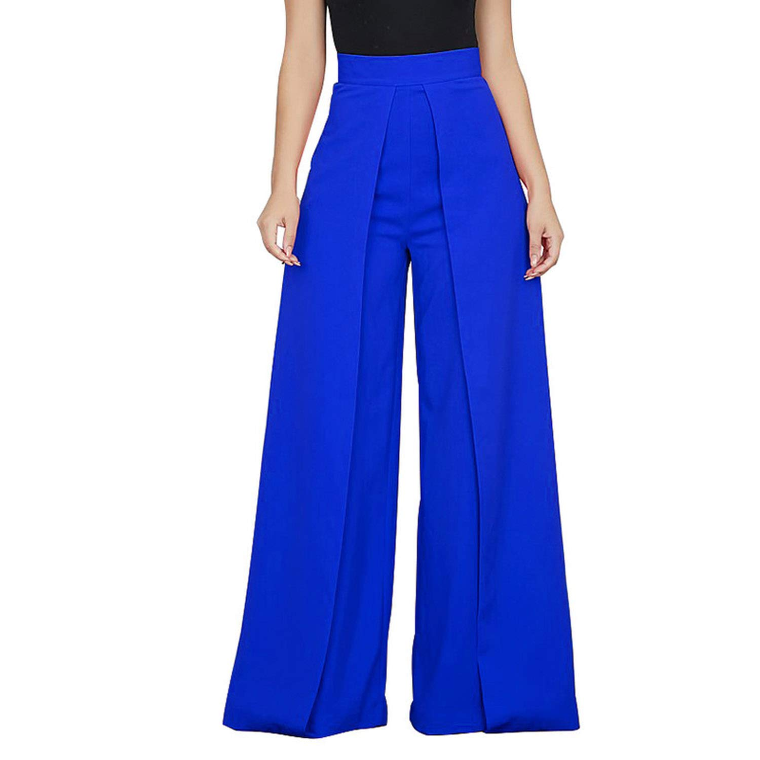 bluee Lishfun Casual High Waist Loose Wide Leg Pants Women Solid Patchwork Pants Trousers Female Elegant Back Zipper Palazzo Pants