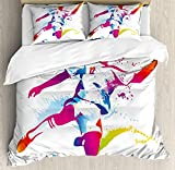Teen Room Decor Twin Duvet Cover Sets 4 Piece Bedding Set Bedspread with 2 Pillow Sham, Flat Sheet for Adult/Kids/Teens, Soccer Player Kicks the Ball Watercolor Style Spray Championship Image