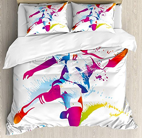 Teen Room Decor Twin Duvet Cover Sets 4 Piece Bedding Set Bedspread with 2 Pillow Sham, Flat Sheet for Adult/Kids/Teens, Soccer Player Kicks the Ball Watercolor Style Spray Championship Image by Family Decor