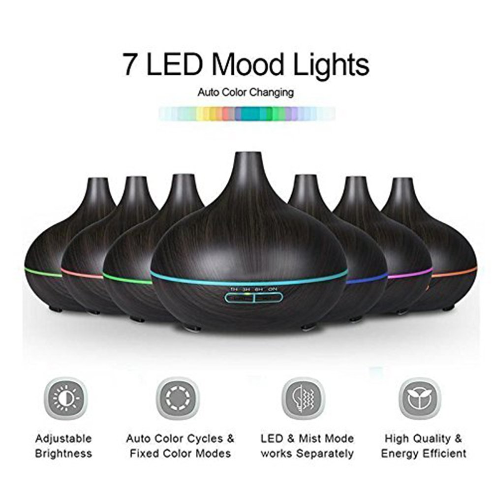 Essential Oil Diffuser, 300ml Cool Mist Ultrasonic Aroma Diffuser, Air Humidifier Wood Grain with Waterless Automatically Shut-off for Office Home Yoga Spa-Black