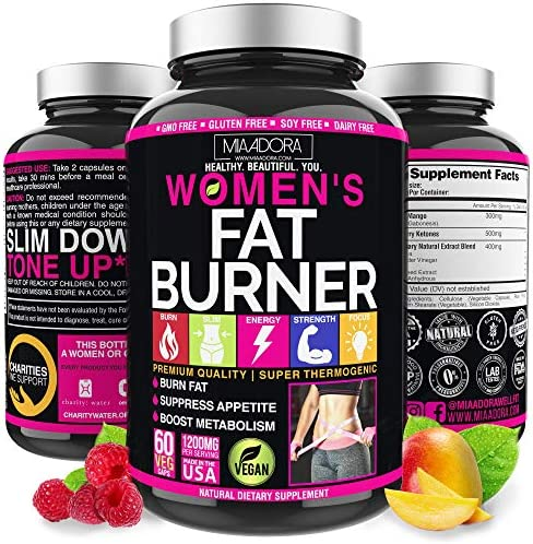Women's Fat Burner Pills for Fast Weight Loss [Super Thermogenic] Best Natural Diet Pills, Metabolism Booster & Appetite Suppressant Supplement, Carb Blocker, Extra Strength & Energy, Vegan, 60 Caps 1