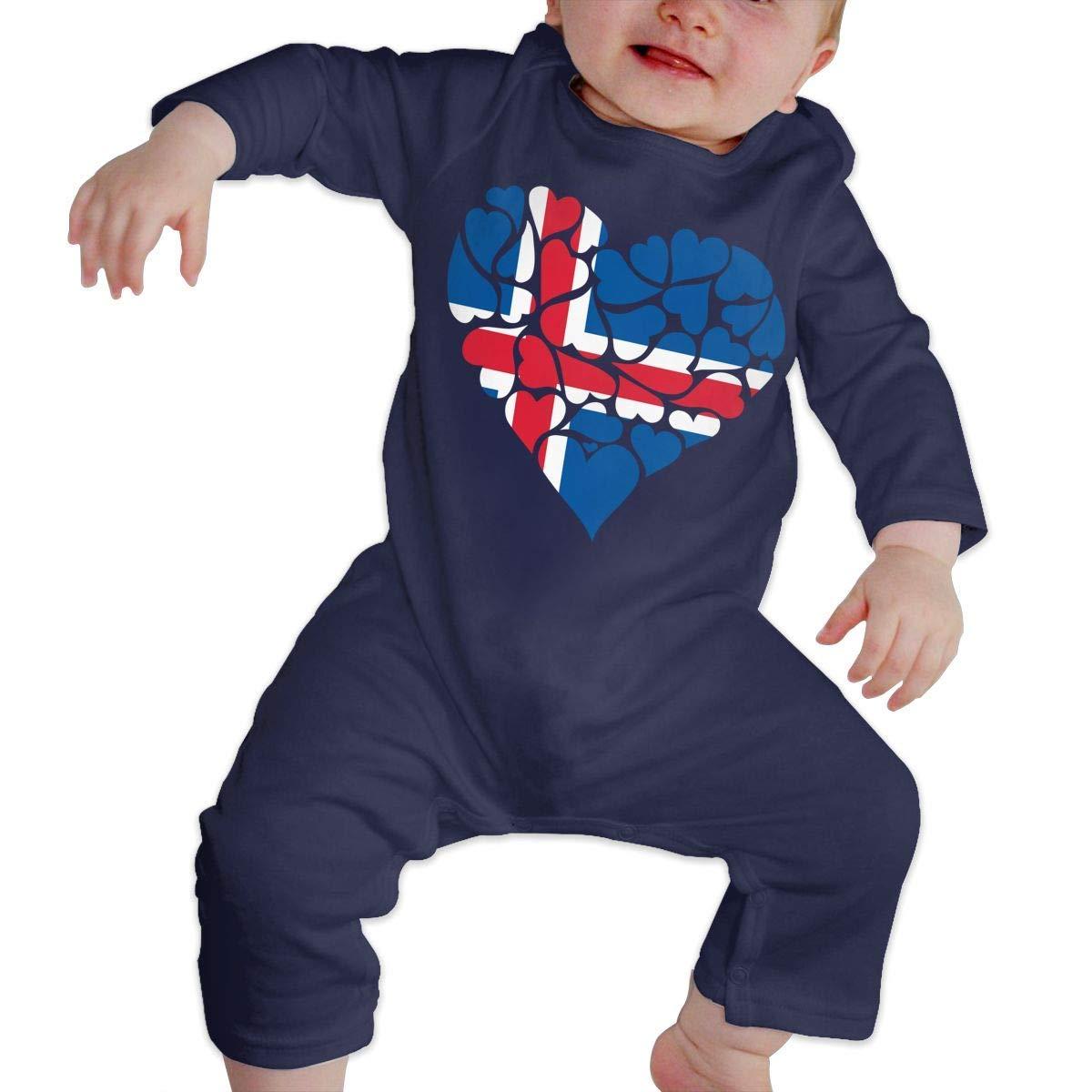 Newborn Baby Bodysuits Iceland Flag Heart Love Kid Pajamas