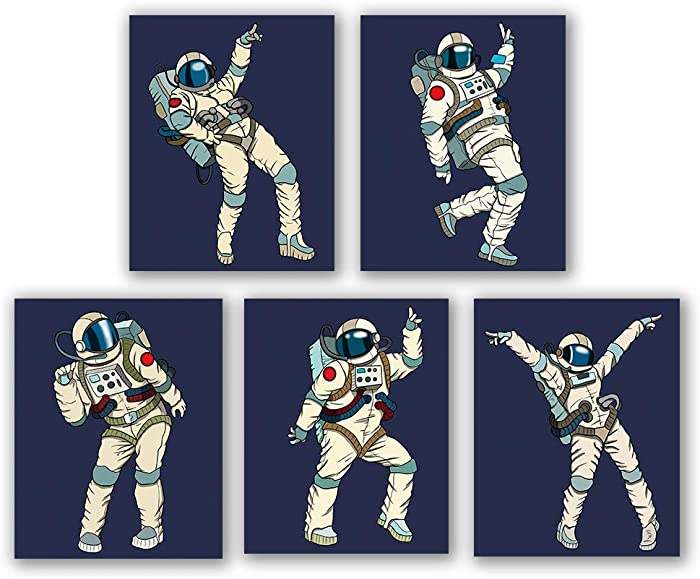 "5 Set- Astronaut Art Print, Funny Aerospace Theme Canvas Wall Art Printing For Boys Bedroom Playroom Decoration (Unframed,8""X10"")"