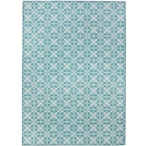 RUGGABLE Washable Stain Resistant Indoor/Outdoor, Kids, Pets, and Dog Friendly Area Rug 5'x7' Floral Tiles Aqua Blue