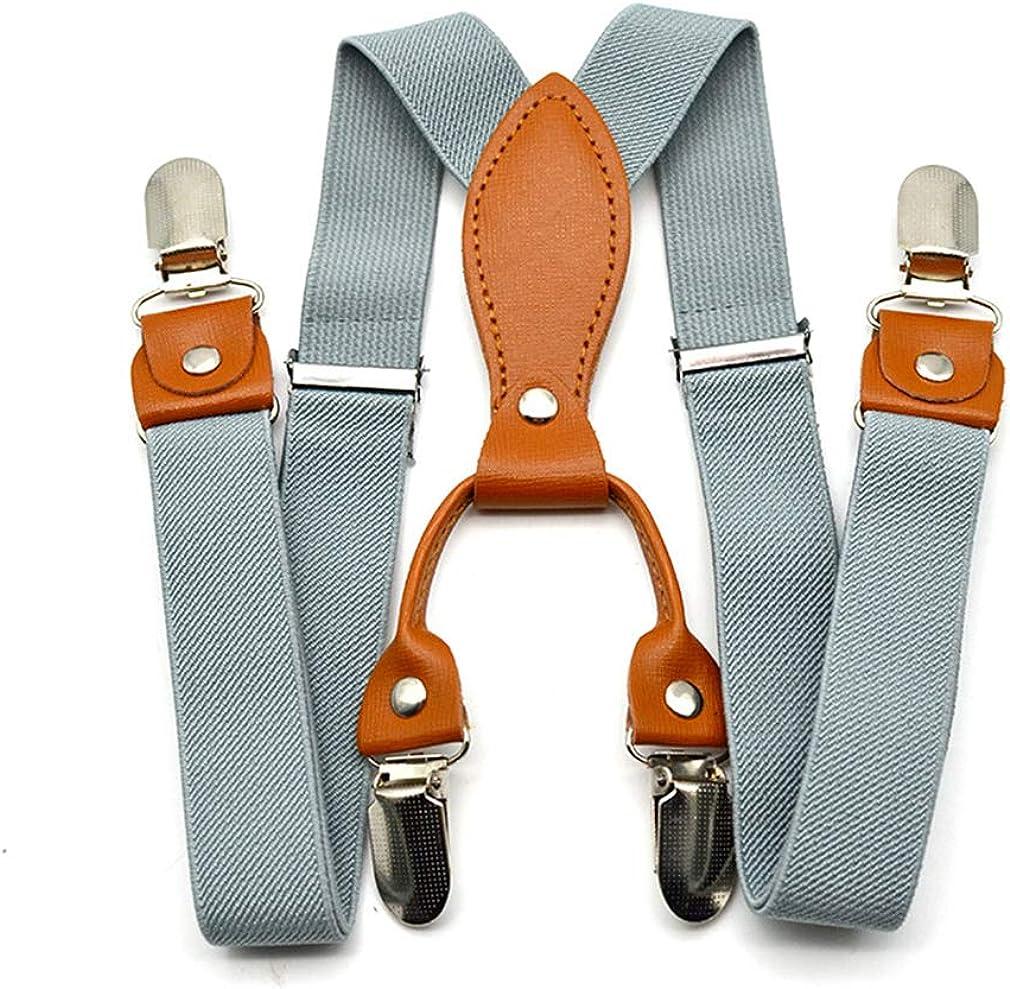 MOHSLEE Boys Kids Y Back Adjustable Suspenders Brace 1 Inch Width /& 4 Metal Clip