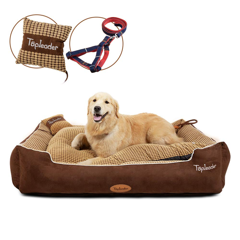 Large Dog Bed Pet Sofa - (2019 Great) Pet Deluxe Dog Bed Self Warming and Breathable Pet Bed Premium Bedding Have Two Size with Removable Washable Cover and 47.2in Long Dog Chain as Gift(47×35×10in