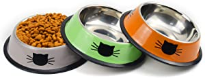 Sonyaer Stainless Steel Cat Bowls, Food and Water Cat Dishes Non Slip Stackable Pet Bowl for Cat, Kitten, Puppy, Small Dog (3 Pack - Grey & Green & Orange)