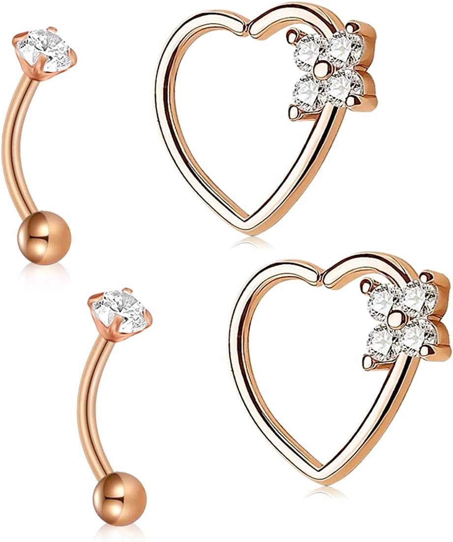 AVYRING 16g Daith Rook Earrings Stainless Steel CZ Cartilage Piercing Rings Jewelry Silver Rose Gold