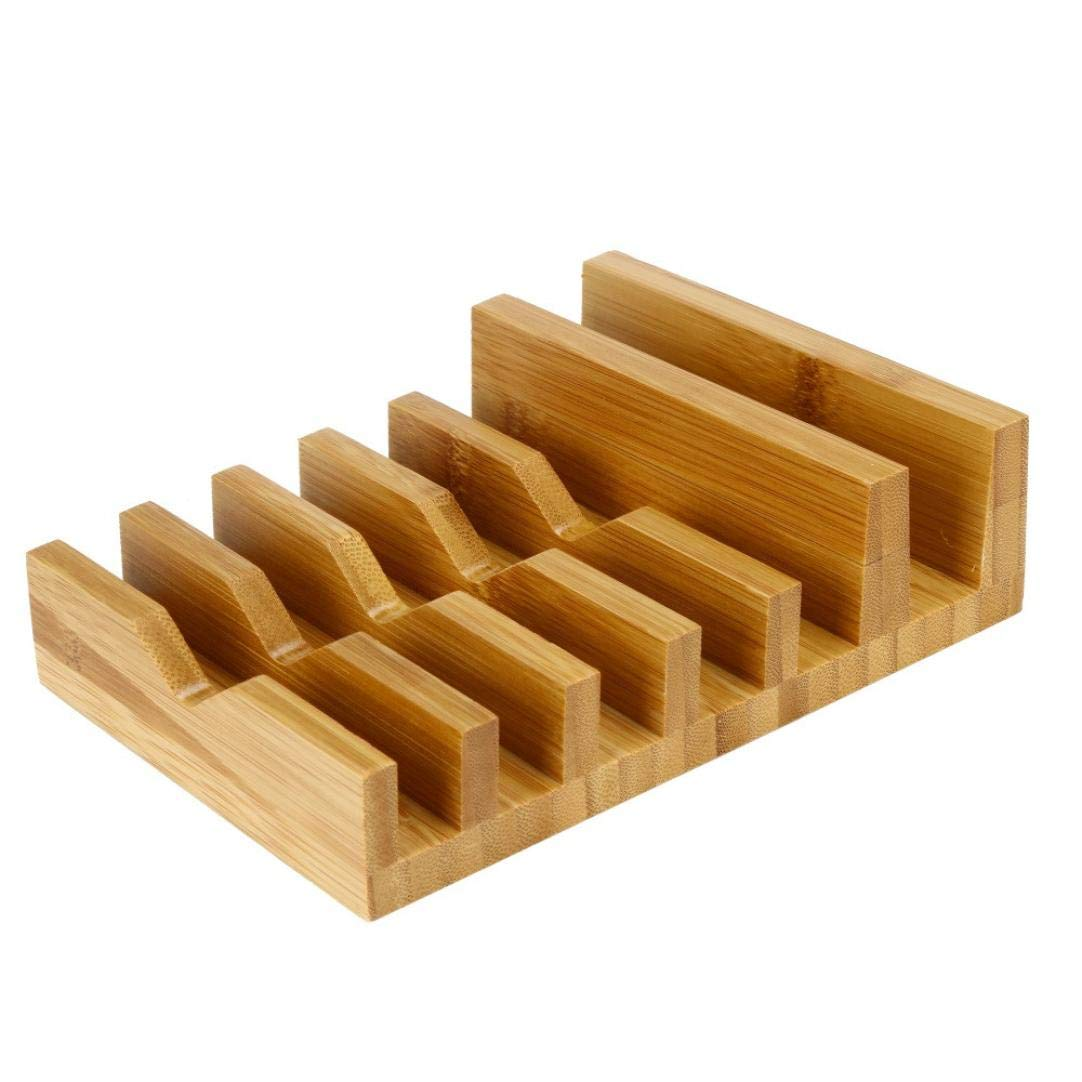 LiPing 6-slot Natural bamboo Wood Organiser Totes New Organizer Storage Bags Reusable Moving Smart Phone Gift (6.7×5.5×1.8in)