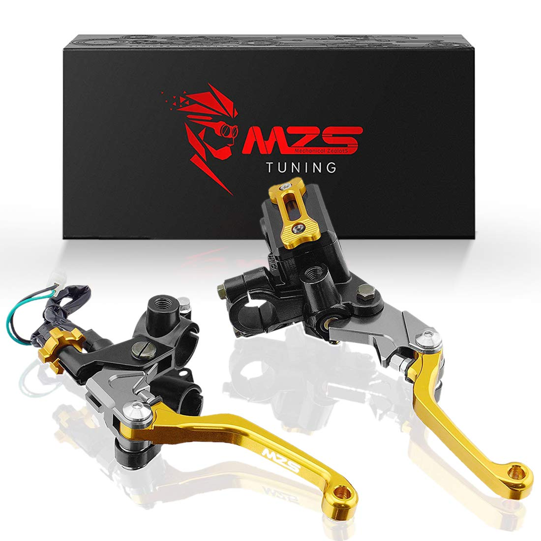 MZS 7/8'' Brake Master Cylinder Reservoir Pivot Levers for Honda Yamaha Suzuki Kawasaki KTM and more Gold
