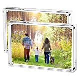 Boxalls 2 Packs Our Wedding Photo Frame Clear Acrylic Picture Frames Double Sided, Free Stand in Desk, Table and Cabinet (6 Inch-Horizontal)