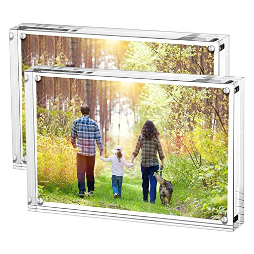 Boxalls Acrylic Picture Frame, Clear Frames Double Sided, Free Stand in Desk, Table and Cabinet (4x6inch-2Packs)