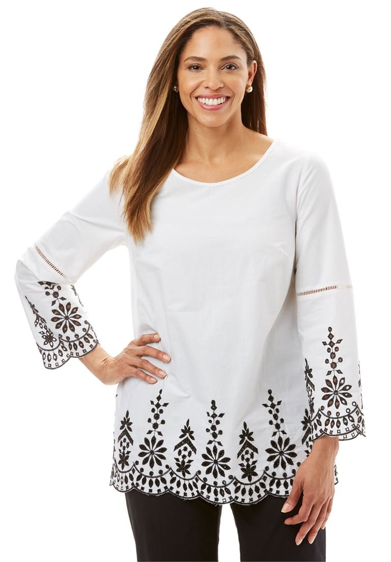Jessica London Women's Plus Size Embroidered Poplin Tunic Black White