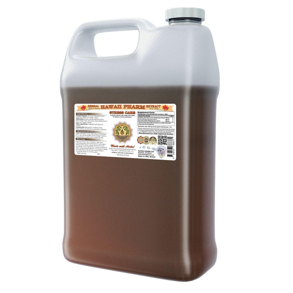 Stress Care Tincture, Eleuthero (Eleutherococcus Senticosus) Root, Brahmi (Bacopa Monnieri) Herb, Kava Kava (Piper Methysticum) Root Liquid Extract, Herbal Supplement 64oz