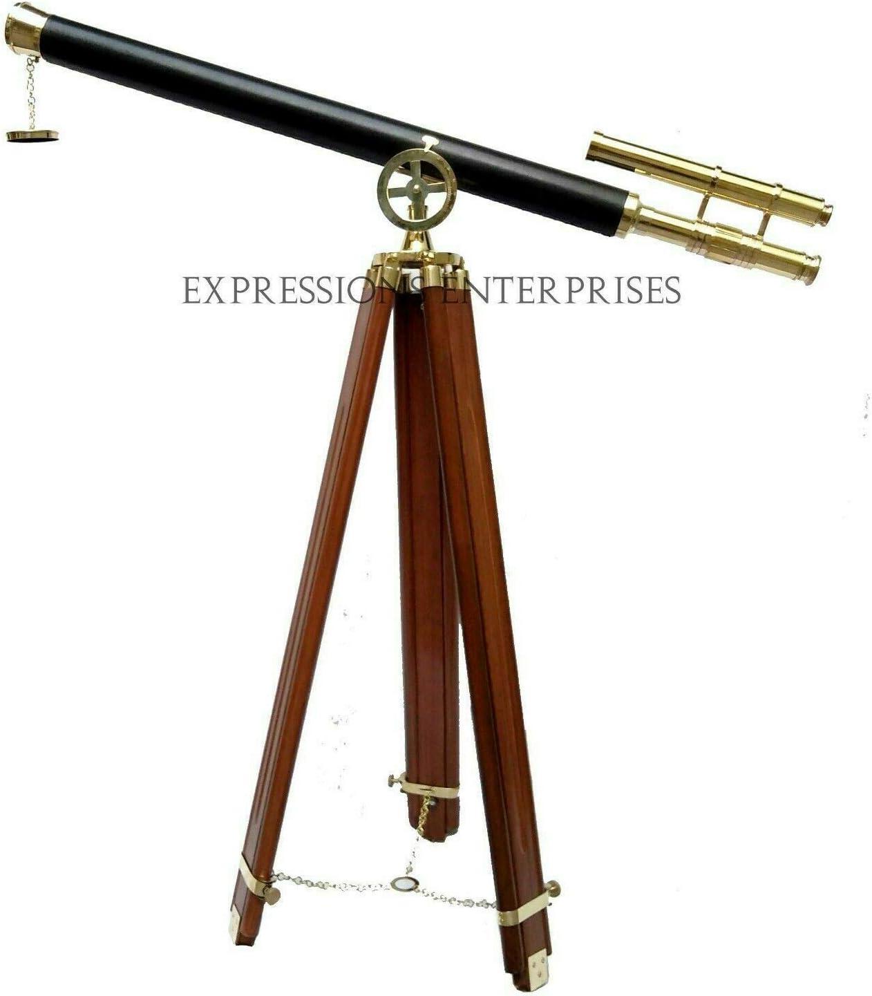 Marine Navy Brass Telescope w Wooden Tripod Polished Brass Astro Antique Style