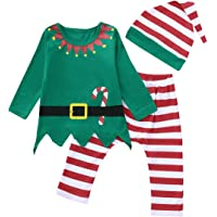 3Pcs Newborn Boys Girls Christmas Outfits Long Sleeve Tops+Stripe Pants+Hat