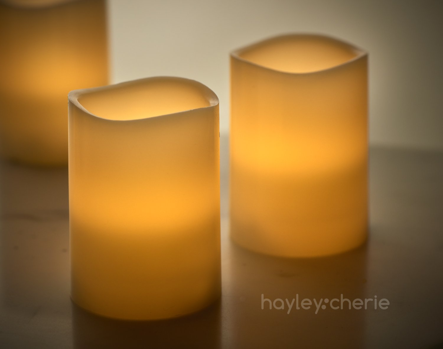 "Hayley Cherie - Real Wax Flameless Candles with Timer (Set of 6) - Ivory LED Candles 3"" wide x 4"" tall - Flickering Amber Flame - Battery Operated Pillar Candles - Large Unscented by Hayley Cherie (Image #4)"