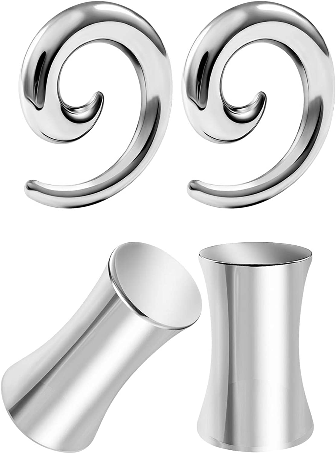 BIG GAUGES 2 Pairs 316L Surgical Steel Spiral Taper Expander Solid Flesh Piercing Jewelry Ear Stretching Polished Earring Lobe Plugs