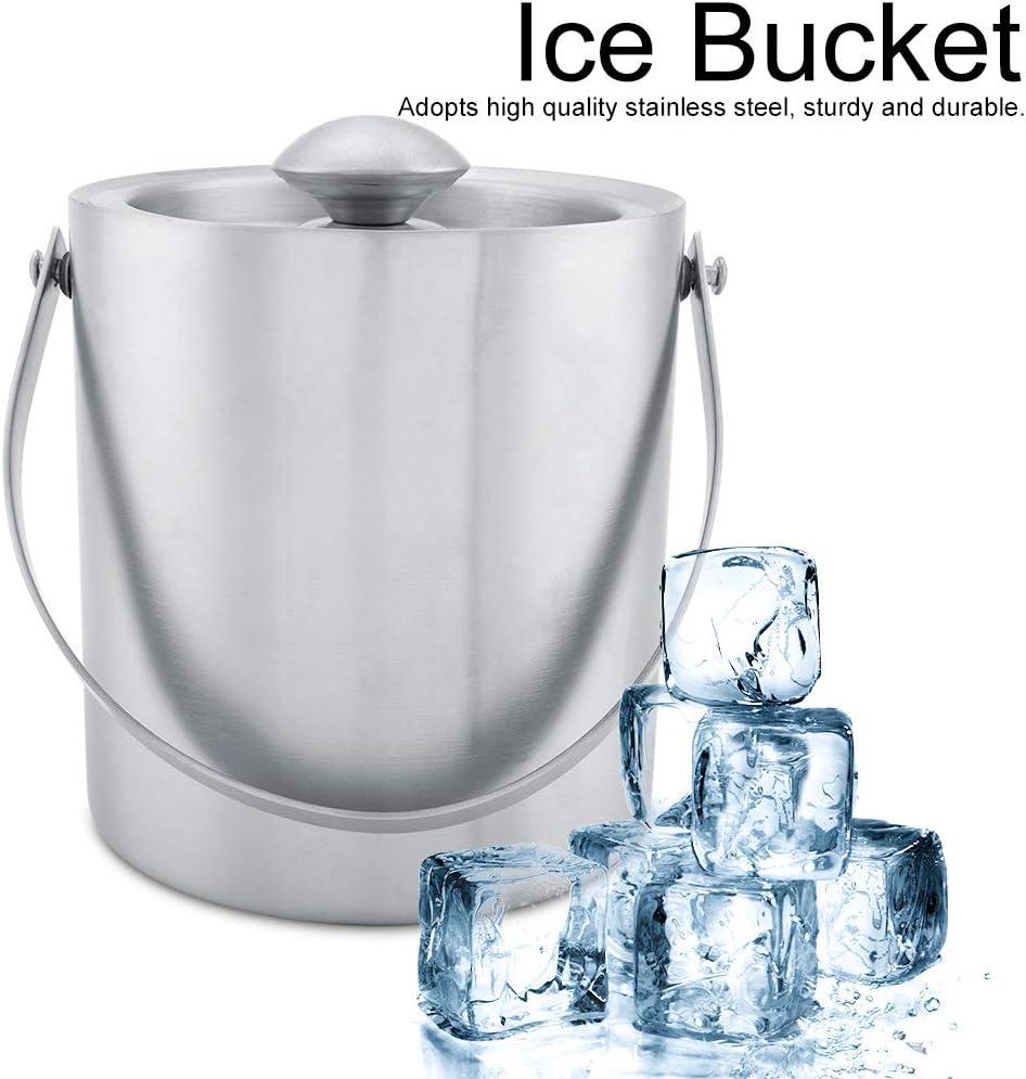 Cubitera de hielo de doble pared de acero inoxidable con cubierta para fiestas de boda para fiestas de bar 2 L