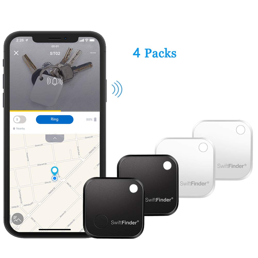 SwiftFinder Wireless Key Finder, Mini Bluetooth Anti-Lost Smart Tag Locator GPS Tracker for Key/Phone/Wallets/Purse/Luggage and Bags with APP Control Compatible with iOS and Android 4 Packs by SwiftFinder